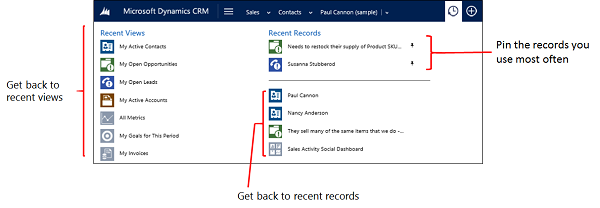 Dynamics CRM 2015 Recently Viewed Items