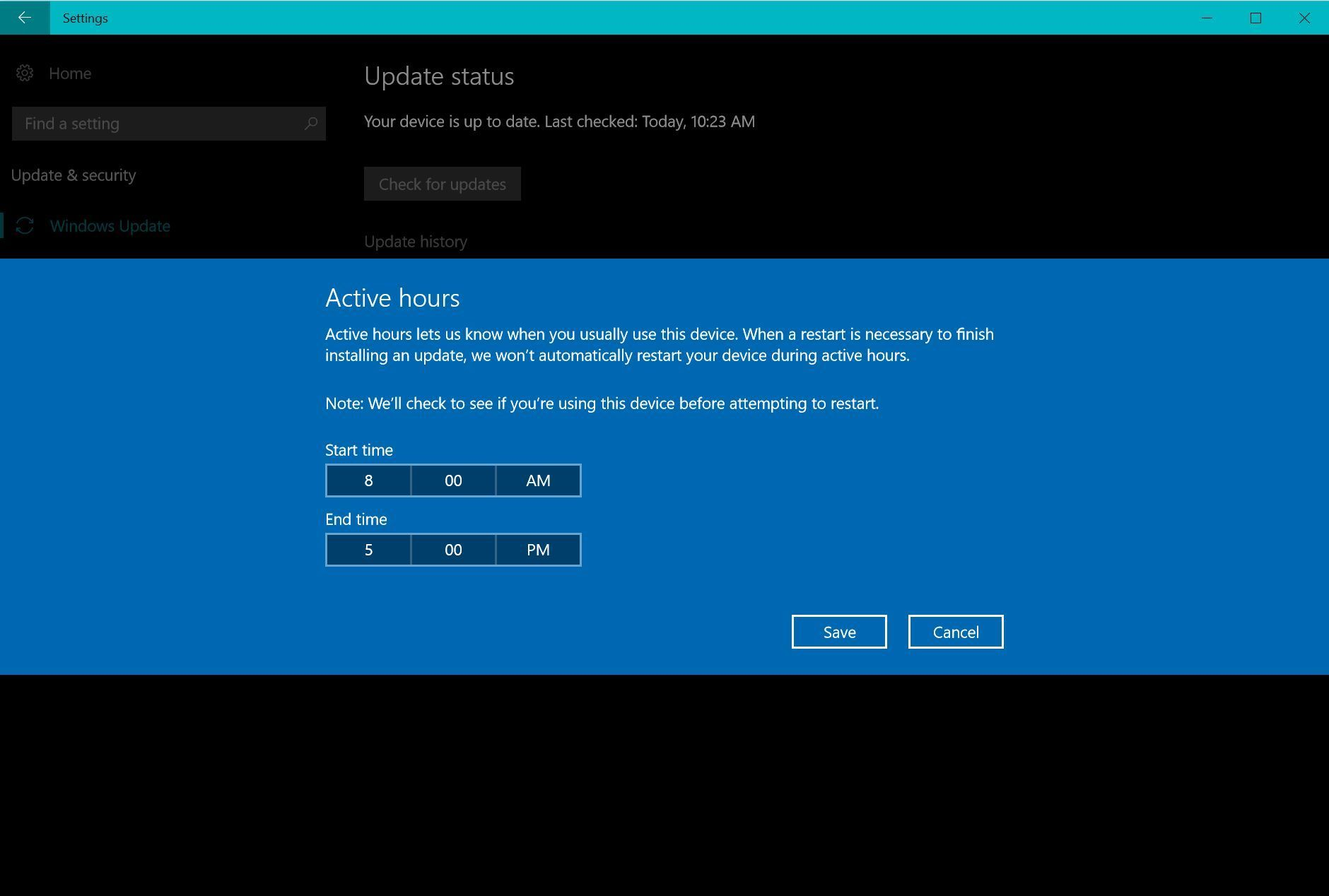 Windows 10 Creators Update Active Hours